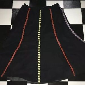 Silky Black Embroidery flowers trim Boho Skirt L